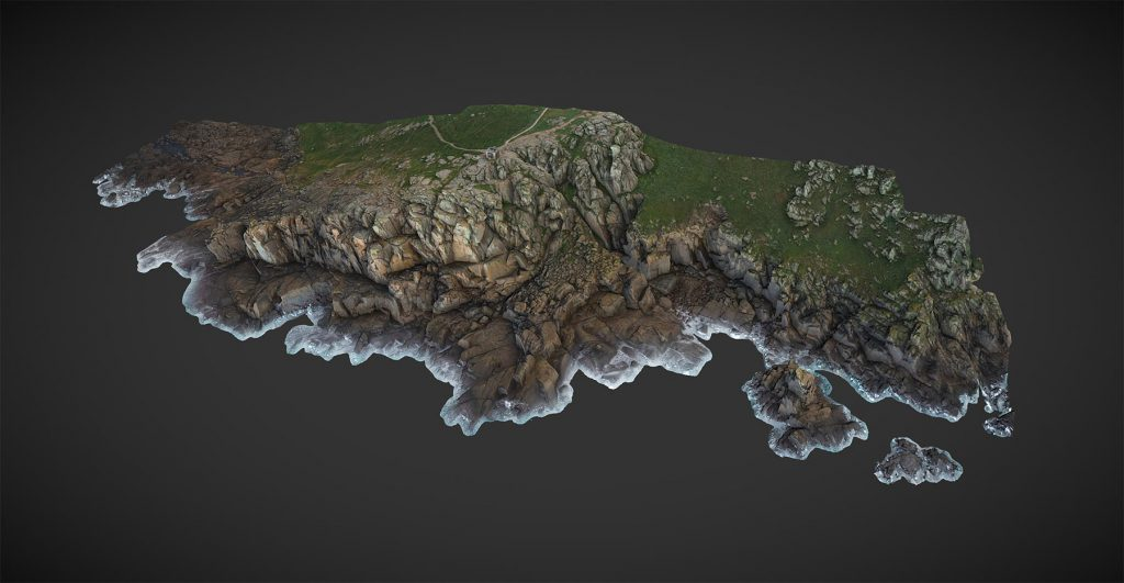 Aerial 3D SFM photogrammetry Survey of Cliffs near Sennon Cove