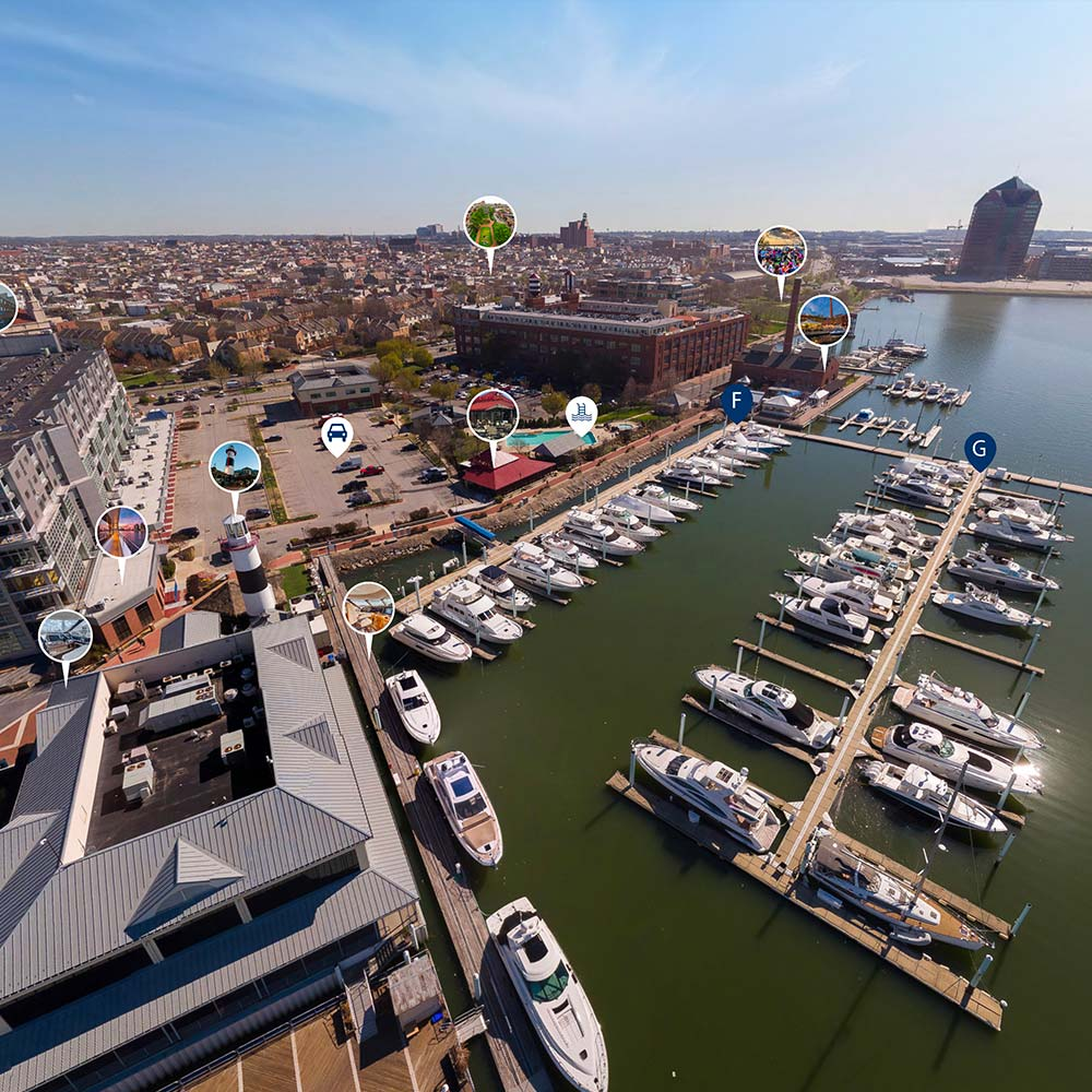 360 virtual aerial tour of marina