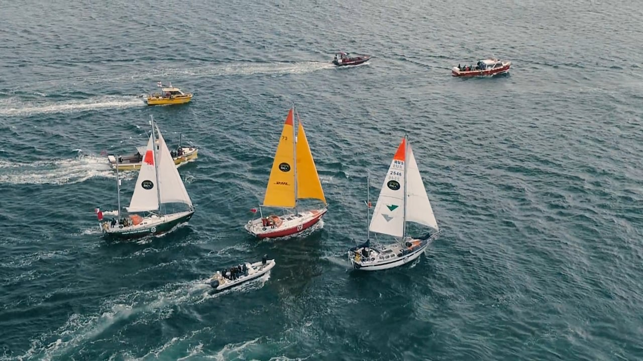 Aerial footage of the start of the Golden Globe 2018 race, setting of from Falmouth, Cornwall, UK